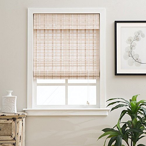 Arlo Blinds, Whitewash Light Filtering Bamboo Roman Shade with Valance - Size: 24