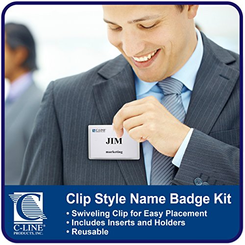 C-Line Clip Style Name Badge Holders with Inserts, 3.5 x 2.25 Inches, 50 per Box (95523) Photo #3