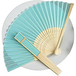 BalsaCircle 50 Turquoise Decorative Silk Fabric Folding Handheld Hand Fans - Wedding Birthday Party Favors Decorations Supplies Bulk