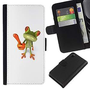 Sony Xperia Z3 D6603 / D6633 / D6643 / D6653 / D6616 Modelo colorido cuero carpeta tirón caso cubierta piel Holster Funda protección - Idea Innovation White Green