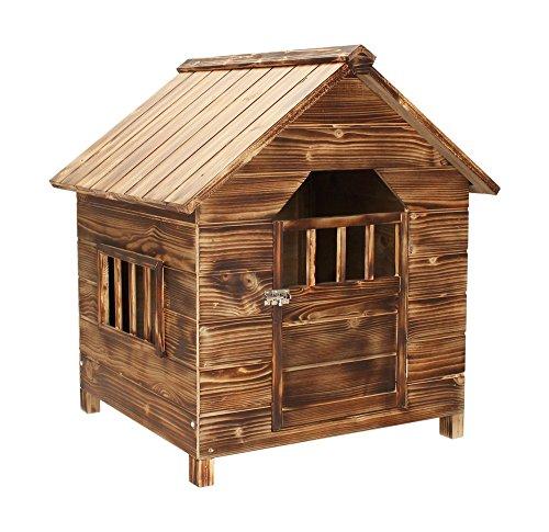Bois-Sapin-fonc-pour-chien-Maison-Niche-Abri-extrieur-en-bois-avec-porte-verrouillable