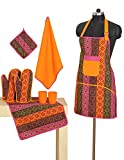 Patterned Cotton Chef's Apron Set with Pot Holder, Oven Mitts & Napkins - Perfect Home Kitchen Gift or Bridal Shower Gift