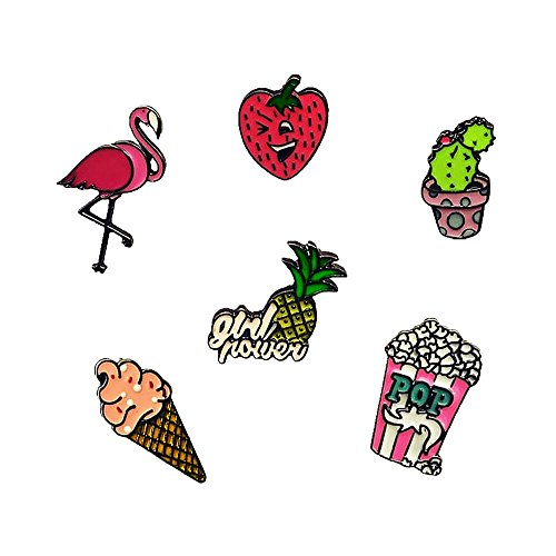 Beyonder Fashion Cute Cartoon Brooch Pins Animal Floral Fruits Rainbow Foods Glass Enamel Brooches Pins Badge for Women Girls Clothing Bag Decor (Cactus Ice Cream Strawberry Set of 6) ()