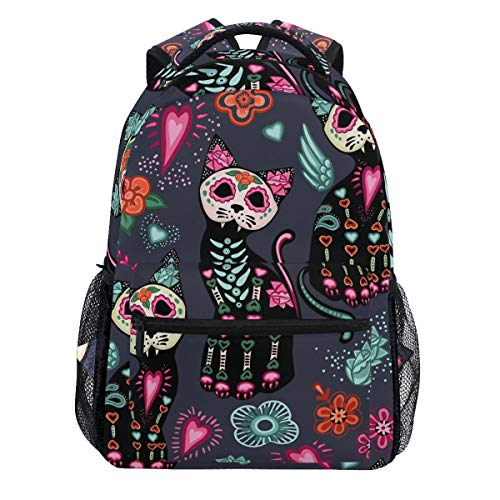 Kaariok Fantasy Cat Skull Flower Vintage Halloween Backpack Bookbags Daypack Travel School College Bag for Womens Mens Teens ()