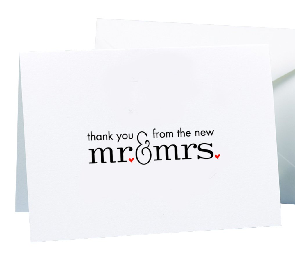 Hortense B. Hewitt Wedding Accessories Mr. and Mrs. Thank You Cards, 50 Count
