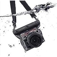 Meiwo DSLR Underwater Universal Waterproof Housing Case Waterproof Camera Bag Designed for Outdoor / Underwater Activities, Compatible for Canon / Nikon / Fuji / Pentax / Samsung / SONY(Black)