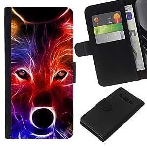 KingStore / Leather Etui en cuir / Samsung Galaxy A3 / Lobo neón Colores Retrato Hocico Hocico