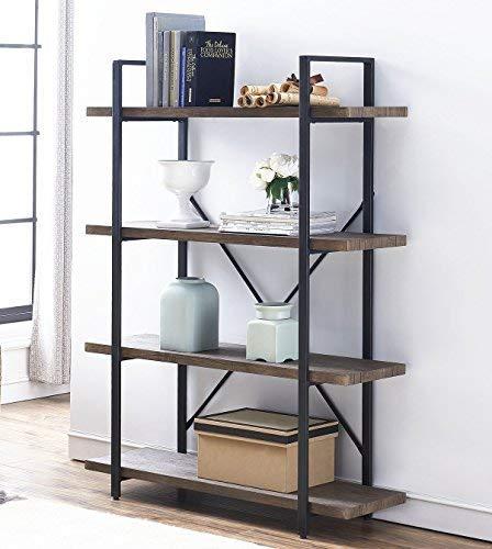 O&K FURNITURE 4-Shelf Vintage Industrial Bookcase, Display Rack Stand Storage Shelving Unit, Gray-Brown by O&K FURNITURE (Image #2)