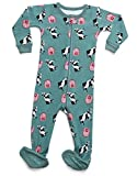 Leveret Kids Organic Cotton Cow Baby Boys Girls Footed Pajamas Sleeper (Size 12-18 Months)
