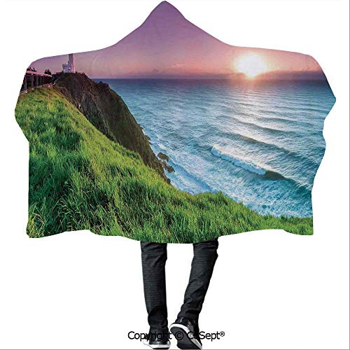 - SCOCICI Polyester Hooded Blankets,Byron Bay Lighthouse During Sunrise Nature Hill Dawn Sunbeams Scenic Seashore,Unisex All Ages One Size Fits All(59.05x43.30 inch),