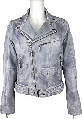 Unicorn véritable Jacket Denim cuir Gris gm ciré En Fashion Women YZrRY