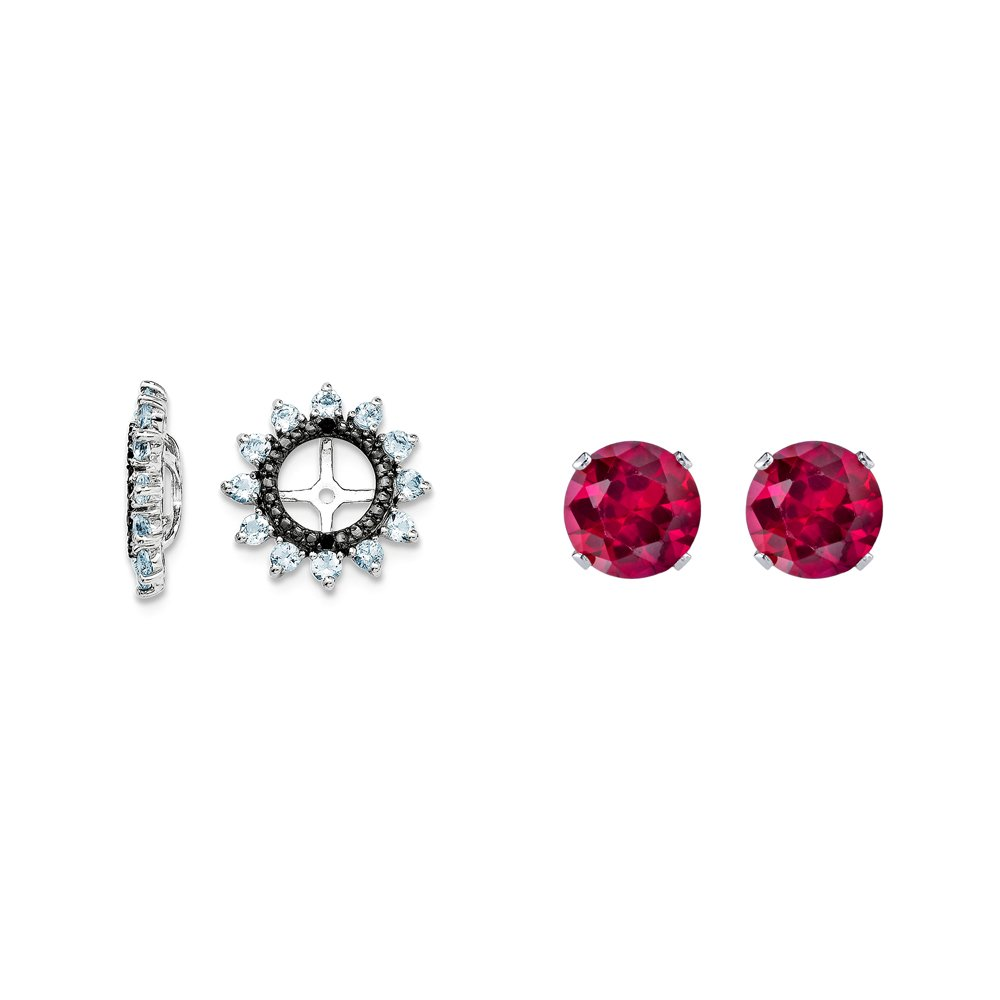 Sterling Silver Simulated Aquamarine, Black Simulated Sapphire Earring Jacket + 2mm Red CZ Studs