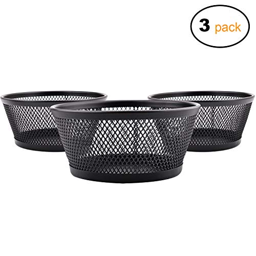Tidy Pins - MaxGear Mesh Collection Jumbo Paper Clip Holders Paper Clip Dispenser Office Paper Clip Holder for Desk Black Paper Clip Organizer, 3 Pack