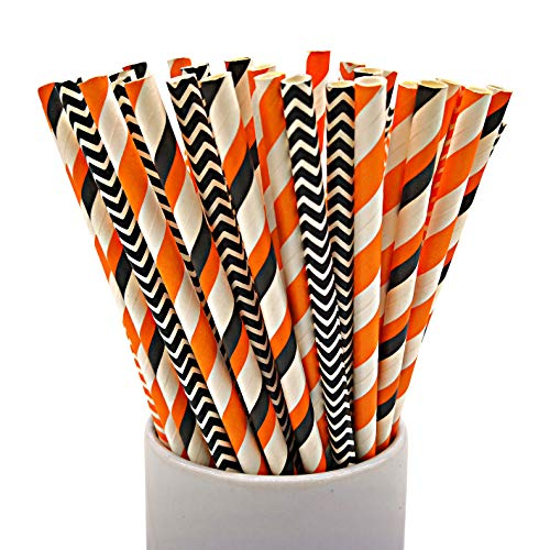 CTIGERS Halloween Party Paper Straws Black and Orange Box of 100
