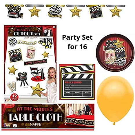 Dinner Theater Birthday Costume Party Tableware And Decorations Kit For 16 At The Movies Hollywood Cinema Theater Party Supplies Pack Movie Night Party Packs