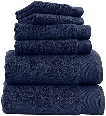 Luxury 100% Cotton Bath Towels - 6 Piece Set, Extra Soft & Fluffy, Quick Dry & Highly Absorbent, No Lint, Hotel Bath Towel Set - 2 Bathroom Towels, 2 Hand Towels & 2 Washcloths - Navy Blue