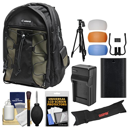 Canon 200EG Deluxe Digital SLR Camera Backpack Case with LP-E6 Battery + Charger + Tripod + Kit EOS 80D, 6D 7D 5D Mark II III IV, 5DS R by Canon