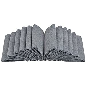 Sinland Absorbent Microfiber Dish Cloth Kitchen Streak Free Cleaning Cloth Dish Rags Lens Cloths 12inchx12inch 12 Pack Grey