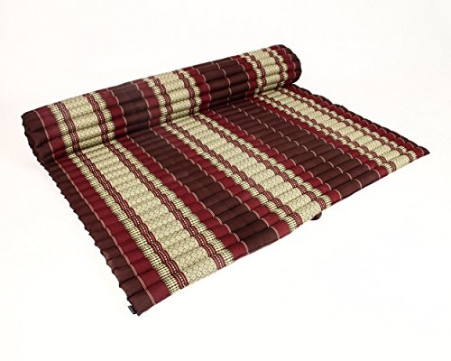 Roll Up Thai Mattress XXXL, 79x70x2 inches, Kapok, Brown Red by thailand kengdudee