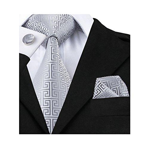 Hi-Tie Retro Silver Geometric Pattern Tie Set (Pattern Cufflinks Silver)