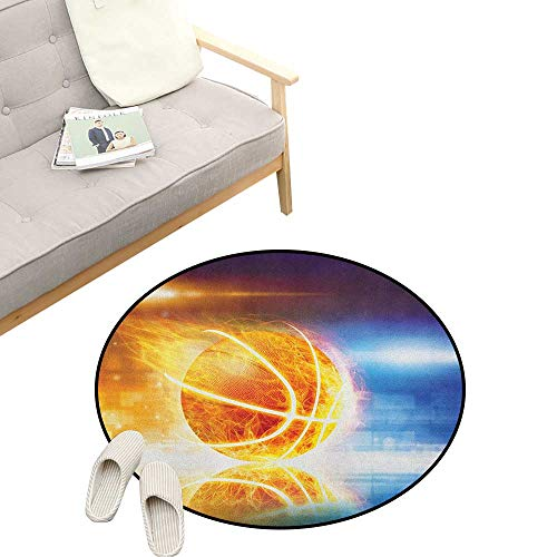 Basketball Round Rug Living RoomArt Deco ,Abstract Sports Background Burning Basketball with Digital Reflection Art Print, Playroom Super Soft Carpet Floor Mat 39