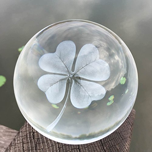 Waltz&F 60mm Crystal Ball Four Leaf Clover Paperweight with Stand,Fengshui Crystal Ball Home Decoration