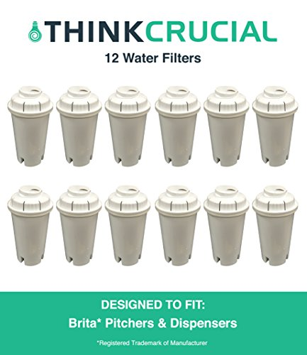 12 Brita Replacement Water Filter, Premium Filtration, Fits Pitchers & Dispensers, by Think Crucial