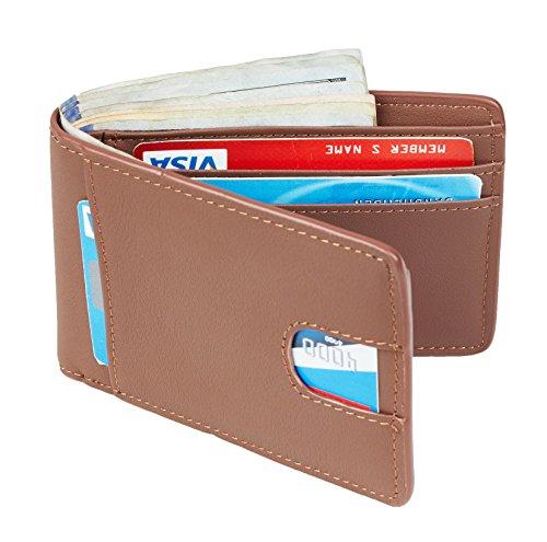 Casmonal Mens Leather Wallet Slim Front Pocket Wallet Billfold RFID Blocking (brown)