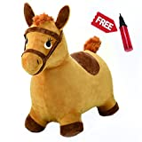 Hopping Horse Ride On Bouncy Animal Toys, Inflatable Horse Hopper Plush Covered With Pump For 2, 3, 4, 5 Year Old And UP(Yellow) - iPlay, iLearn