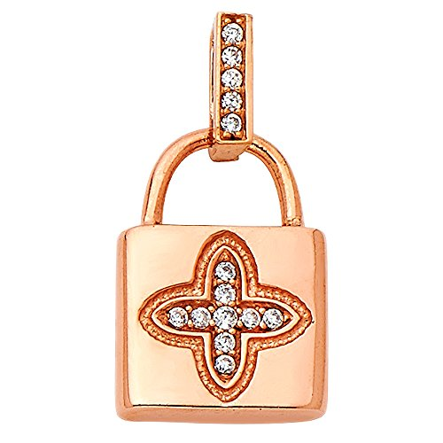 - Wellingsale 14K Rose Gold Polished Lock Charm Pendant with CZ Accent