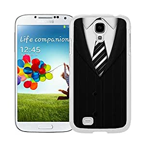 New Style View Window Design Smart Cover For Samsung Galaxy S4 i9500 Cool Suit Tie¡ê?Suit and Tie Black Suit Shirt & Tie Pattern Watercolor Samsung Galaxy S4 i9500 Case White Cover