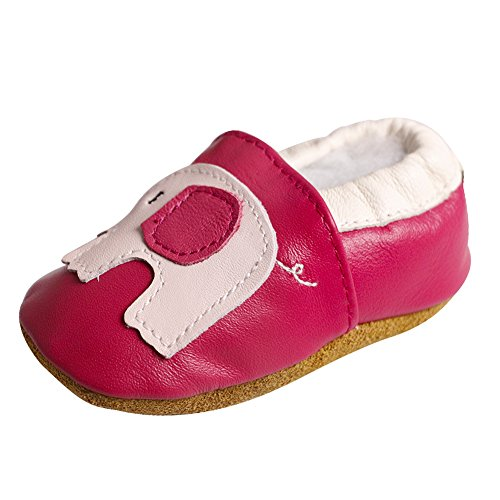 Leather Sole Stitch (Amurleopard Baby Soft Sole Leather Crib Shoes Infant Toddler First Walking Prewalker Elephant 18-24 Months 5.7