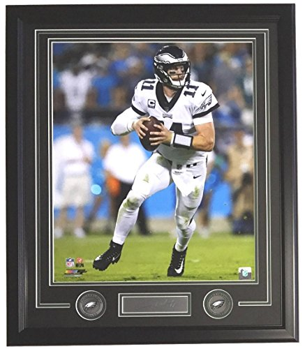 Carson Wentz Framed 16x20 Eagles White Jersey Photo w/Laser Engraved Signature