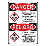 Weatherproof Plastic Vertical OSHA and GHS DANGER Formaldehyde Irritant & Cancer Hazard Sign with English & Spanish Text and Symbol