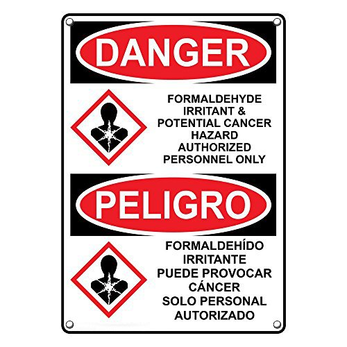 Weatherproof Plastic Vertical OSHA and GHS DANGER Formaldehyde Irritant & Cancer Hazard Sign with English & Spanish Text and Symbol by SignJoker