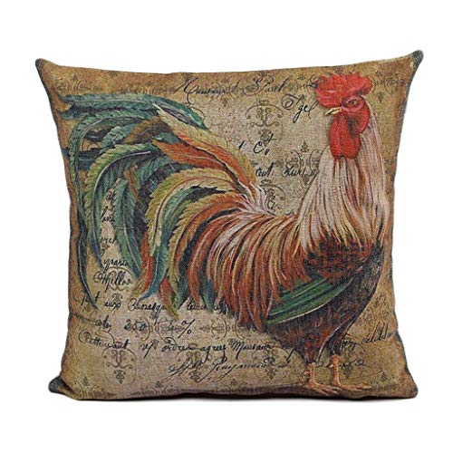 Rooster Decorative Fan - Zhi Fan Home Décor Rooster Painting Decorative Throw Pillowcases Cotton Linen Pillow Covers 18