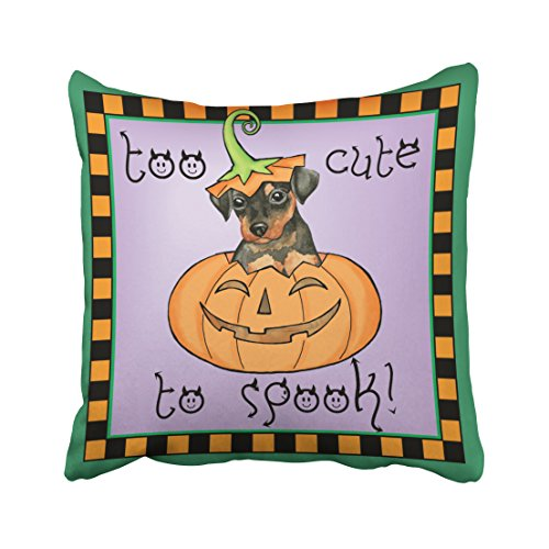 Accrocn Decorative Pillowcases Halloween Min Pin Throw Pillow Covers Cases Cushion Cover Case Sofa 20x20 Inches One Sided