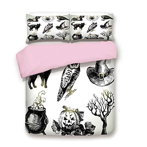 Pink Duvet Cover Set,FULL Size,Halloween Related Pictures Drawn