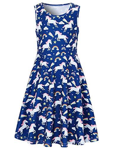 (Idgreatim Baby Girls Dress 3D Unicorn Print Sleeveless Dresses Crewneck Sundress 8-9 T)