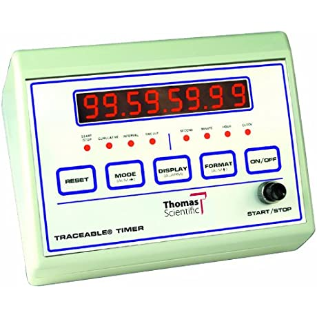 Thomas 1021 ABS Plastic Traceable Bench Timer With 8 Digit 1 2 LED Display 0 001 Percent Accuracy 6 5 8 Length X 4 3 4 Width X 3 1 2 Thick