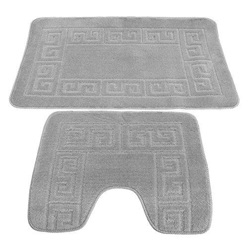 (2 Piece Greek Key Pattern Bath Mat And Pedestal Mat Set (One Size) (Grey) )