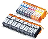 18 Pack Compatible Canon CLI-226 , PGI-225 6 Big Black, 3 Small Black, 3 Cyan, 3 Magenta, 3 Yellow for use with Canon PIXMA iP4820, PIXMA iP4920, PIXMA iX6520, PIXMA MG5120, PIXMA MG5220, PIXMA MG5320, PIXMA MG6120, PIXMA MG6220, PIXMA MG8120, PIXMA MG8120B, PIXMA MG8220, PIXMA MX712, PIXMA MX882, PIXMA MX892. Ink Cartridges for inkjet printers. CLI-526BK , CLI-526C , CLI-526M , CLI-526Y , PGI-525BK © Blake Printing Supply