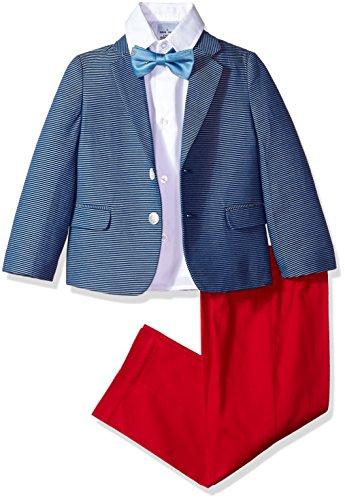 Nautica Little Boys' Suit Set with Jacket, Pant, Shirt, and Tie, Horizontal Hope Diamond, (7 Diamonds Kids Shirt)