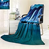 YOYI-HOME Digital Printing Duplex Printed Blanket Under Moonlight Full Moon Nature Night Print Accessories Navy Blue Dark Turquoise Summer Quilt Comforter /W47 x H59