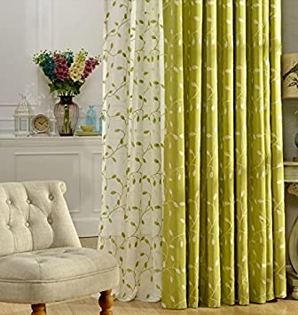 Living Room Curtains amazon living room curtains : Amazon.com: FADFAY Blue Green Embroidered Linen Curtains Fancy ...