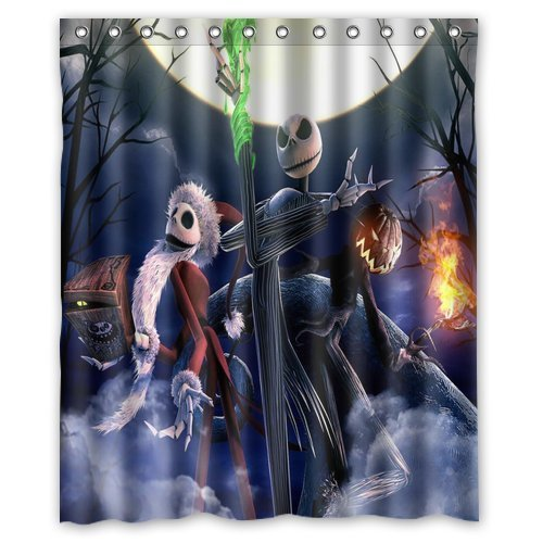 LIBIN Scottshop Custom the nightmare before christmas Shower Curtain Waterproof Polyester Fabric Bathroom Shower (The Nightmare Before Christmas Fabric Material)