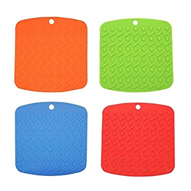 Chichic Silicone Pot Holder, Trivet Mat, Jar Opener, Spoon Rest and Garlic Peeler, Heat Resistant Hot Pads, Set of 4
