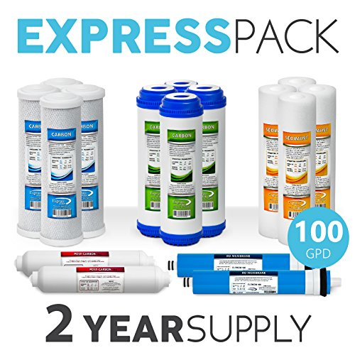 Express Water Reverse Omosis Replacement Filter Kit Under Sink Water Filter Cartridges With 100 Membrane (2-Year) by Express Water
