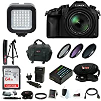 Panasonic LUMIX DMC-FZ1000 Digital Camera w/ 59 Photo & Video Tripod & 64 GB SD Card Bundle