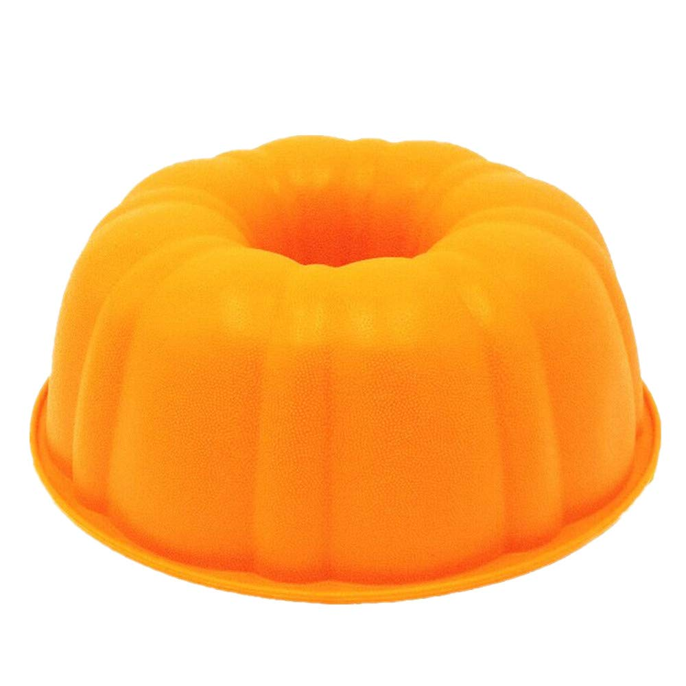 Pumpkin Cake Mold | Silicone 9 Inch Fluted Cake Pan | Round Deep Bundt Baking Mold | Nonstick Bakeware, BPA Free, FDA-Approved, 9.84 x 3.54-Inches (Pumpkin)